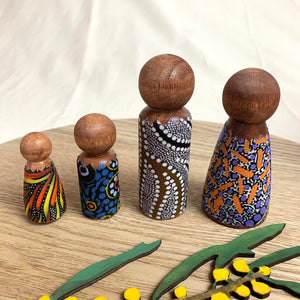 Nunga Creations wooden family doll set
