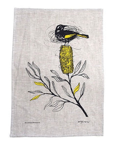 New Holland HoneyEater - Screen Printed Tea Towel - Bridget Farmer