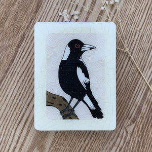 Magpie Woodblock Artwork - Mini size