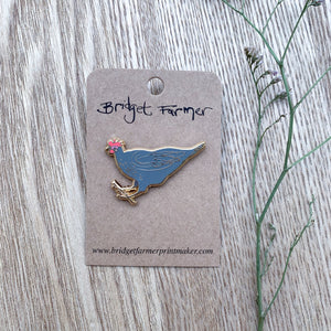 Grey Chicken Enamel Pin - Bridget Farmer