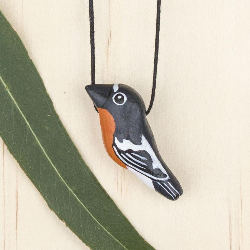 Bird Whistle Necklace - Flame Robin
