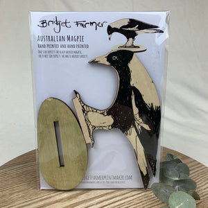 Magpie Printed Artwork Shelf Ornament - Bridget Farmer
