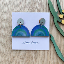 Load image into Gallery viewer, My Rainbow Heart - Wooden artwork earrings - Maia Green