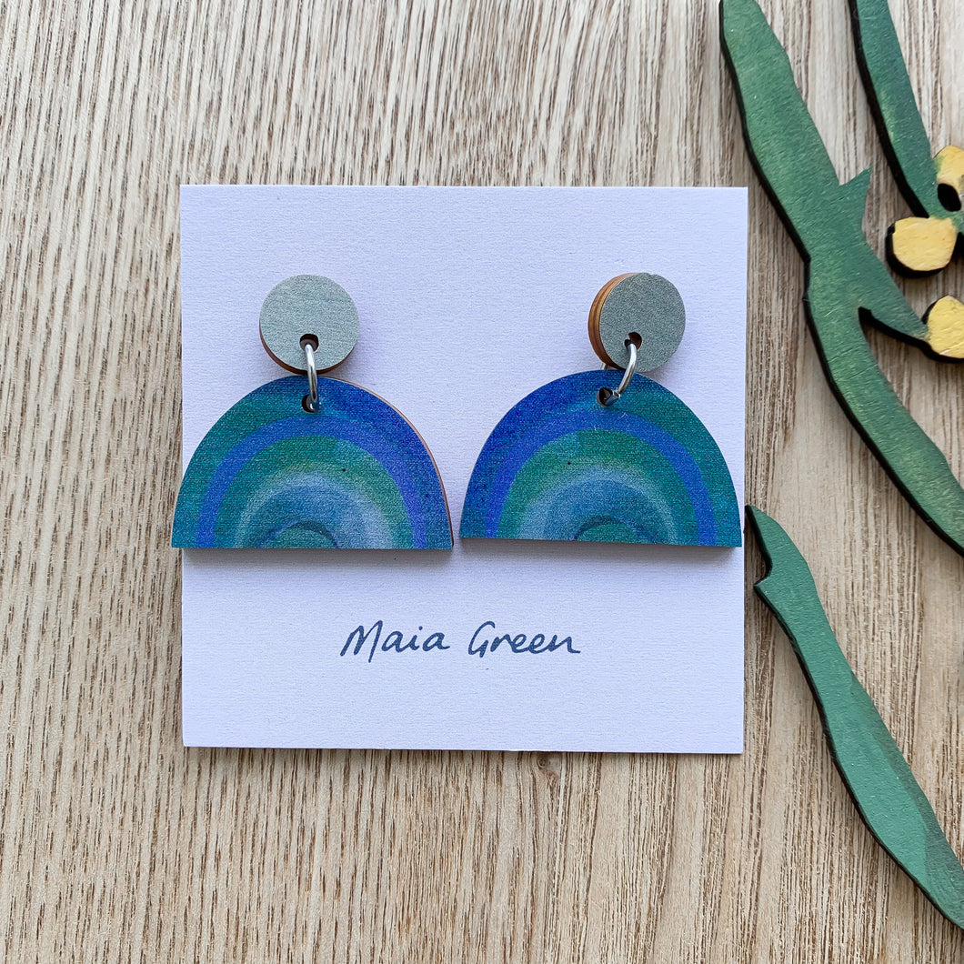 My Rainbow Heart - Wooden artwork earrings - Maia Green
