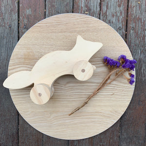 Wooden Fox Toy with moving wheels