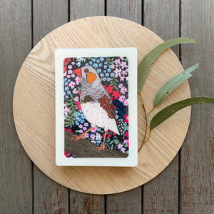 Zebra Finch Woodblock Artwork - Medi size