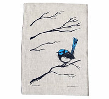 Load image into Gallery viewer, Superb Fairy Wren- Screen Printed Tea Towel - Bridget Farmer
