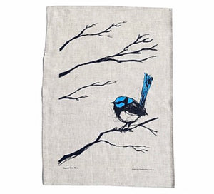 Superb Fairy Wren- Screen Printed Tea Towel - Bridget Farmer