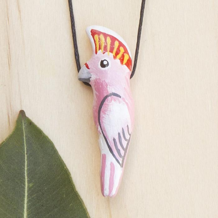 Bird Whistle Necklace - Major Mitchell Cockatoo
