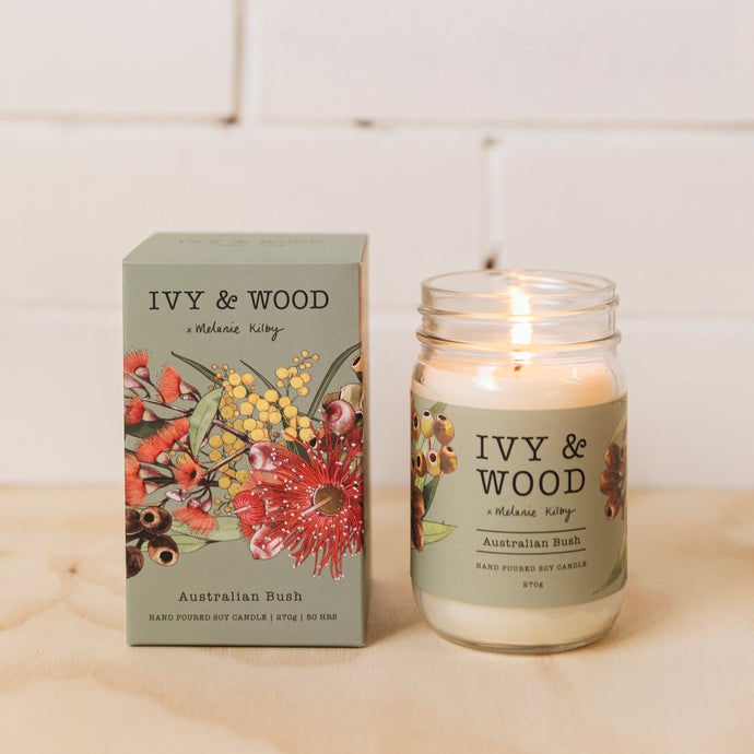 Australiana Collection soy candle- Australian Bush - Ivy & Wood