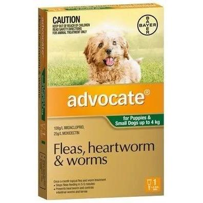 ADVOCATE DOG SMALL GREEN 0-4KG 1PACK - City Country Pets and Supplies