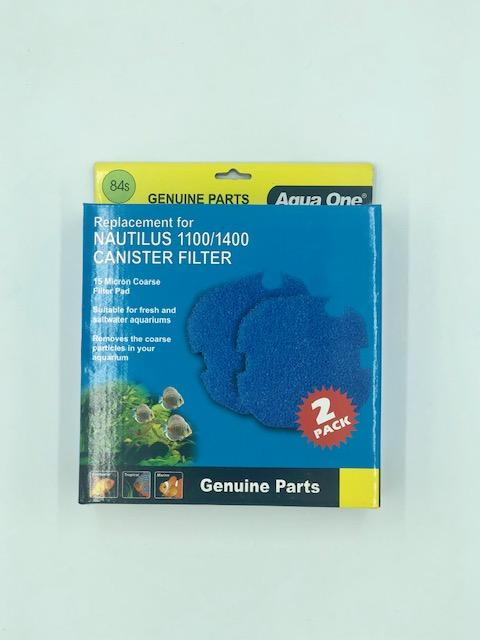 AQUA ONE 15 MICRON COARSE FILTER PAD 84S 2PK (FOR NAUTILUS 1100/1400) 25084S - City Country Pets and Supplies
