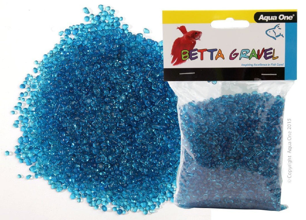 AQUA ONE BETTA GRAVEL GLASS BLUE 350G - City Country Pets and Supplies