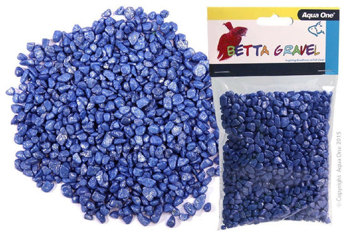AQUA ONE BETTA GRAVEL METALLIC BLUE 350G - City Country Pets and Supplies