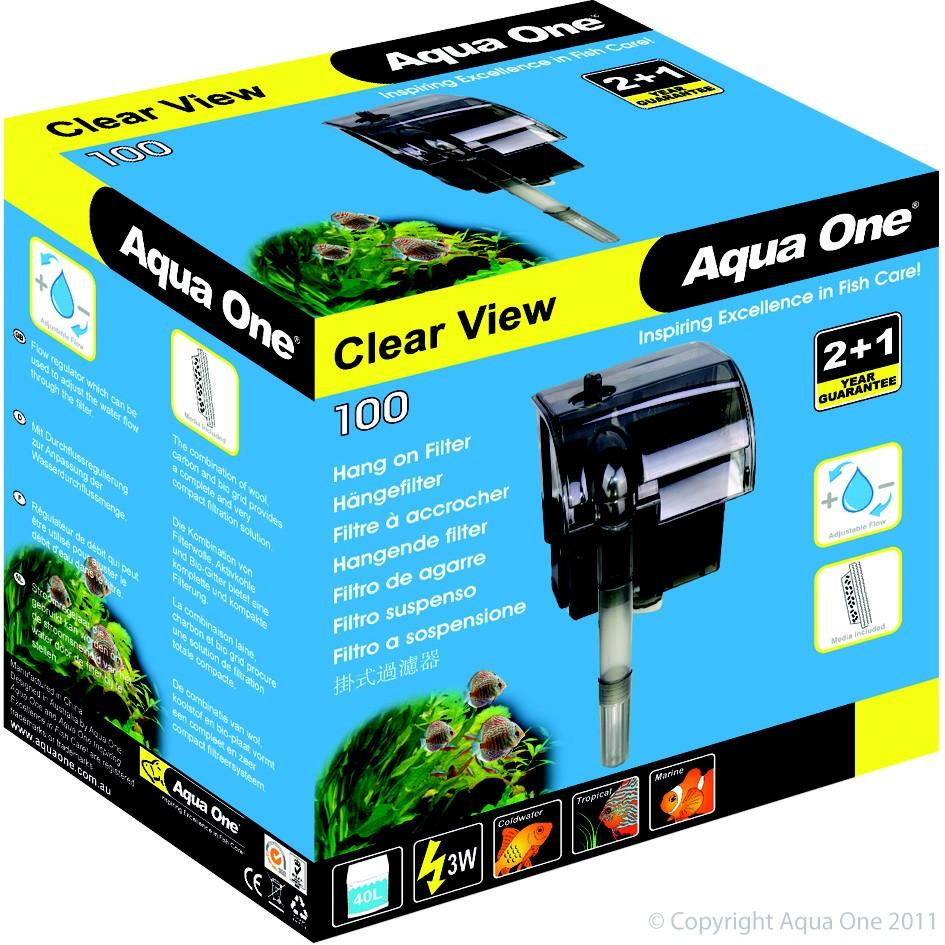 AQUA ONE CLEARVIEW 100 HANG ON FILTER 180L/HR - City Country Pets and Supplies