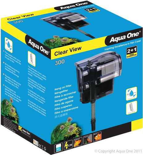 AQUA ONE CLEARVIEW 300 HANG-ON FILTER 300L/HR - City Country Pets and Supplies