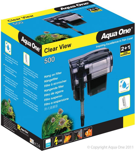 AQUA ONE CLEARVIEW 500 HANG ON FILTER 500L/HR - City Country Pets and Supplies