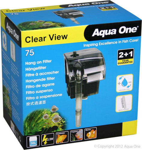 AQUA ONE CLEARVIEW 75 HANGON FILTER 190L/HR - City Country Pets and Supplies