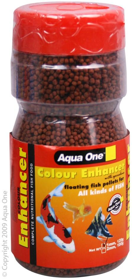 AQUA ONE COLOUR ENHANCER FLOATING FISH PELLETS 1MM 120G BOTTLE - City Country Pets and Supplies