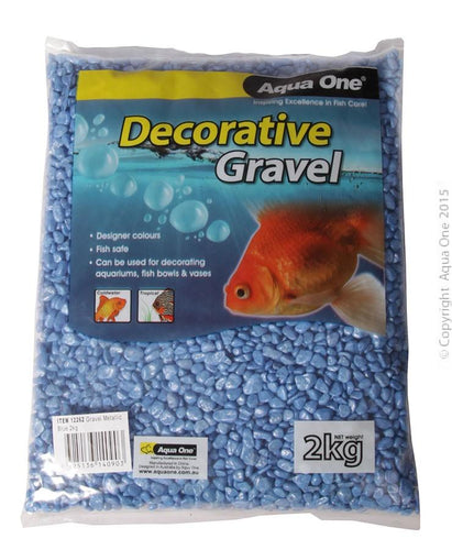 AQUA ONE DECORATIVE AQUARIUM GRAVEL METALLIC BLUE 2KG - City Country Pets and Supplies