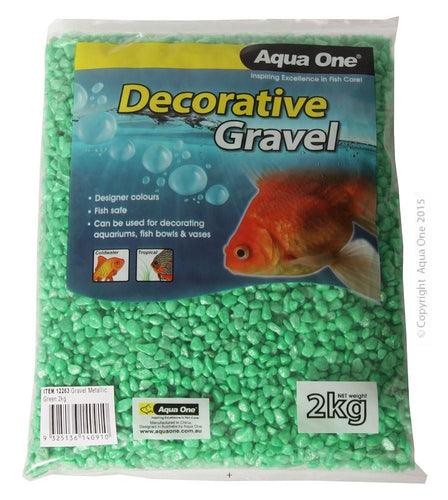 AQUA ONE DECORATIVE AQUARIUM GRAVEL METALLIC GREEN 2KG - City Country Pets and Supplies