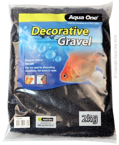 AQUA ONE DECORATIVE GRAVEL BLACK SILICA (NO.1) 2KG (1MM) - City Country Pets and Supplies