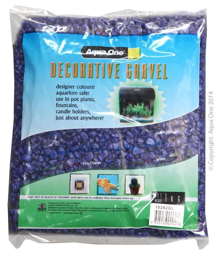 AQUA ONE DECORATIVE GRAVEL DEEP BLUE 1KG (7MM) - City Country Pets and Supplies