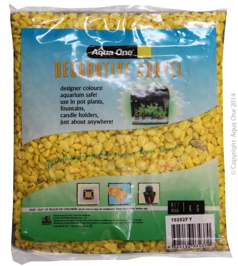 AQUA ONE DECORATIVE GRAVEL FLURO YELLOW 1KG (7MM) - City Country Pets and Supplies