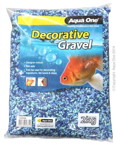 AQUA ONE DECORATIVE GRAVEL MIXED AQUA+BLUE 2KG (2MM) - City Country Pets and Supplies