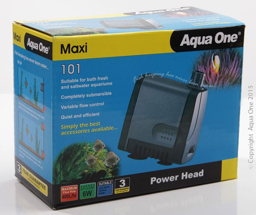 AQUA ONE MAXI 101 POWERHEAD 6W 400L/HR 9/13MM OUTLET 0.56M MAX HEAD HEIGHT - City Country Pets and Supplies