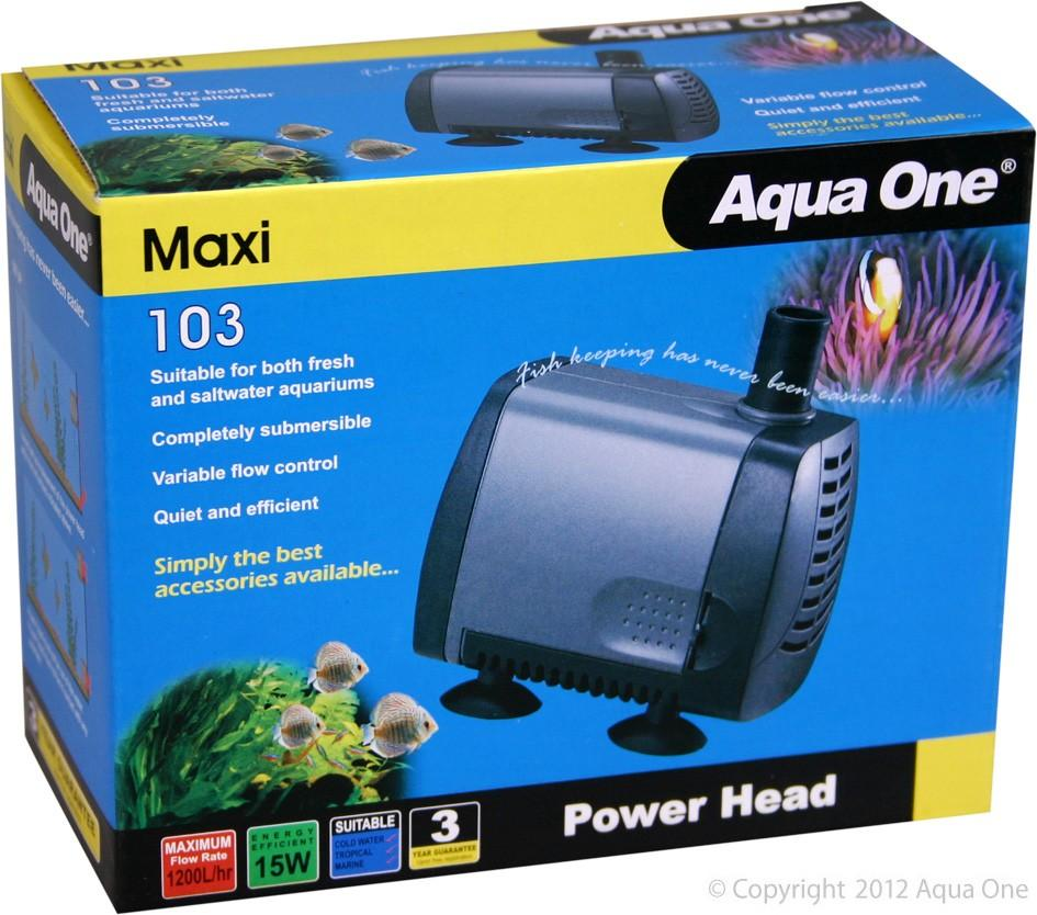 AQUA ONE MAXI 103 POWERHEAD 15W 1200L/HR 16MM OUTLET 1.2M MAX HEAD HEIGHT - City Country Pets and Supplies