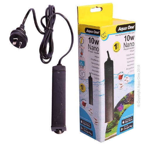 AQUA ONE NANO PRESET PLASTIC HEATER 10W FOR BETTA/TROPICAL/FIGHTING FISH/SHRIMP - City Country Pets and Supplies
