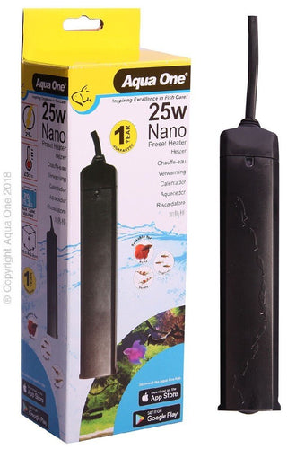 AQUA ONE NANO PRESET PLASTIC HEATER 25W FOR BETTA/TROPICAL/FIGHTING FISH/SHRIMP - City Country Pets and Supplies