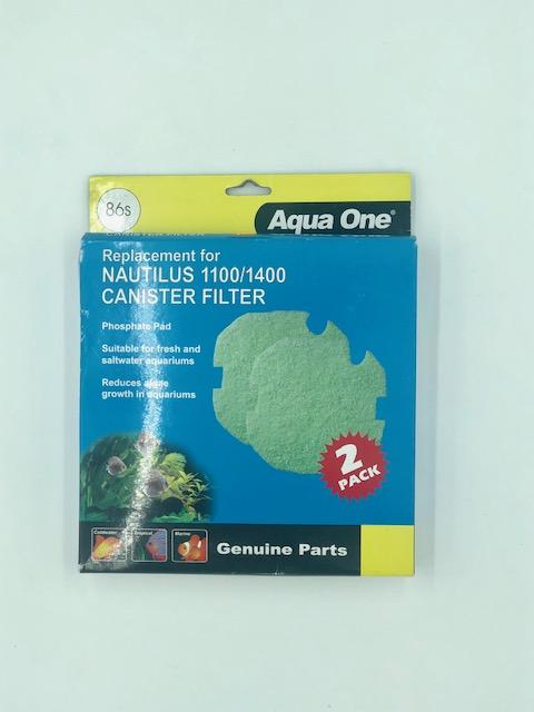 AQUA ONE PHOSPHATE PAD 86S 2PK (FOR NAUTILUS 1100/1400) 25086S - City Country Pets and Supplies