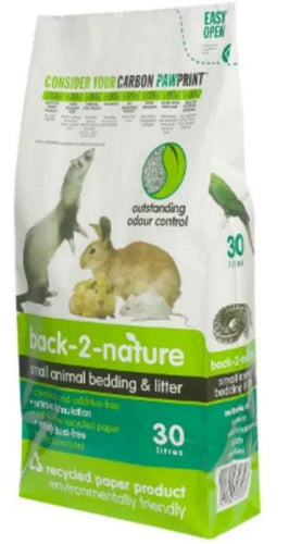 BACK 2 NATURE RECYCLED PAPER SMALL ANIMAL BEDDING/CAT LITTER 30L - City Country Pets and Supplies
