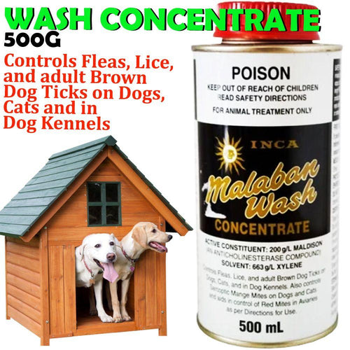 INCA MALABAN WASH CONCENTRATE FOR FLEA CONTROL 500ML - City Country Pets and Supplies