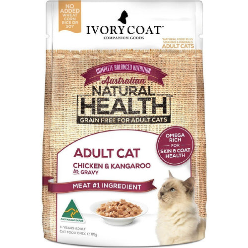 IVORY COAT ADULT CAT CHICKEN & KANGAROO IN GRAVY WET FOOD 85G - City Country Pets and Supplies