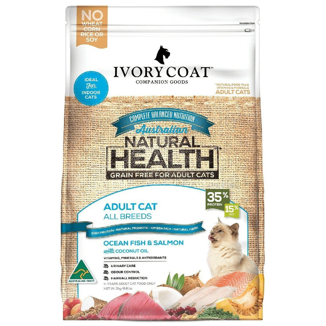IVORY COAT ADULT OCEAN FISH & SALMON CAT FOOD 3KG - City Country Pets and Supplies