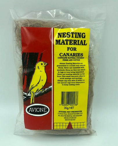 NESTING MATERIAL FOR CANARIES (NATURAL COCONUT FIBRE AND COTTON) 30G - City Country Pets and Supplies