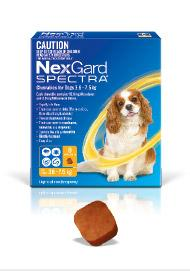 NEXGARD SPECTRA FLEA, TICK AND WORM TREATMENT CHEWS FOR DOGS 3.6-7.5KG 3PK - City Country Pets and Supplies