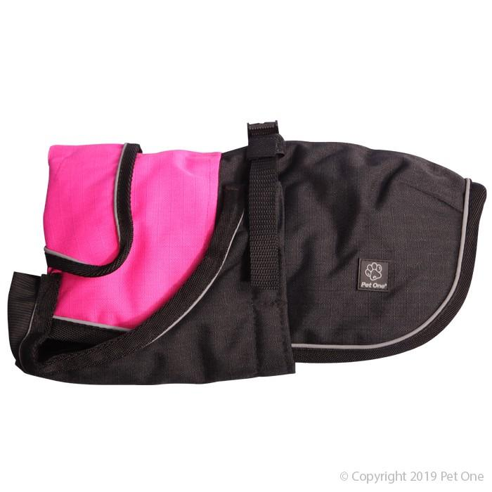 PET ONE BLIZZARD H/DUTY WATERPROOF REFLECTIVE DOG COAT 50CM PINK - City Country Pets and Supplies