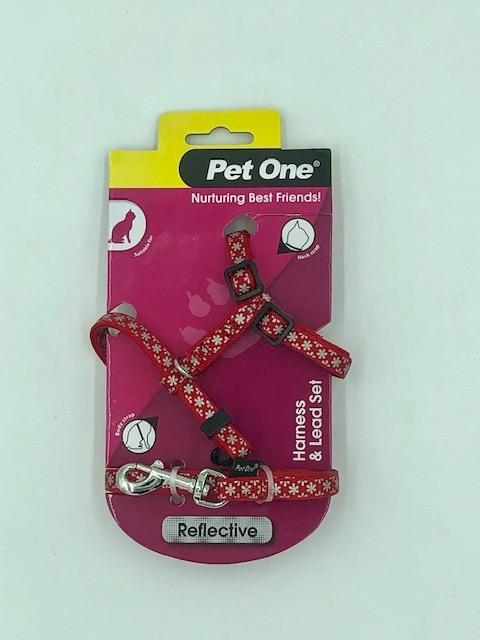 PET ONE CAT HARNESS AND LEAD SET (RED REFLECTIVE 10MMX15-22.5CM) - City Country Pets and Supplies