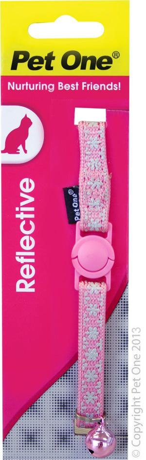 PET ONE CAT/KITTEN COLLAR NYLON 10MMX15-22.5CM (PINK SNOW REFLECTIVE) - City Country Pets and Supplies