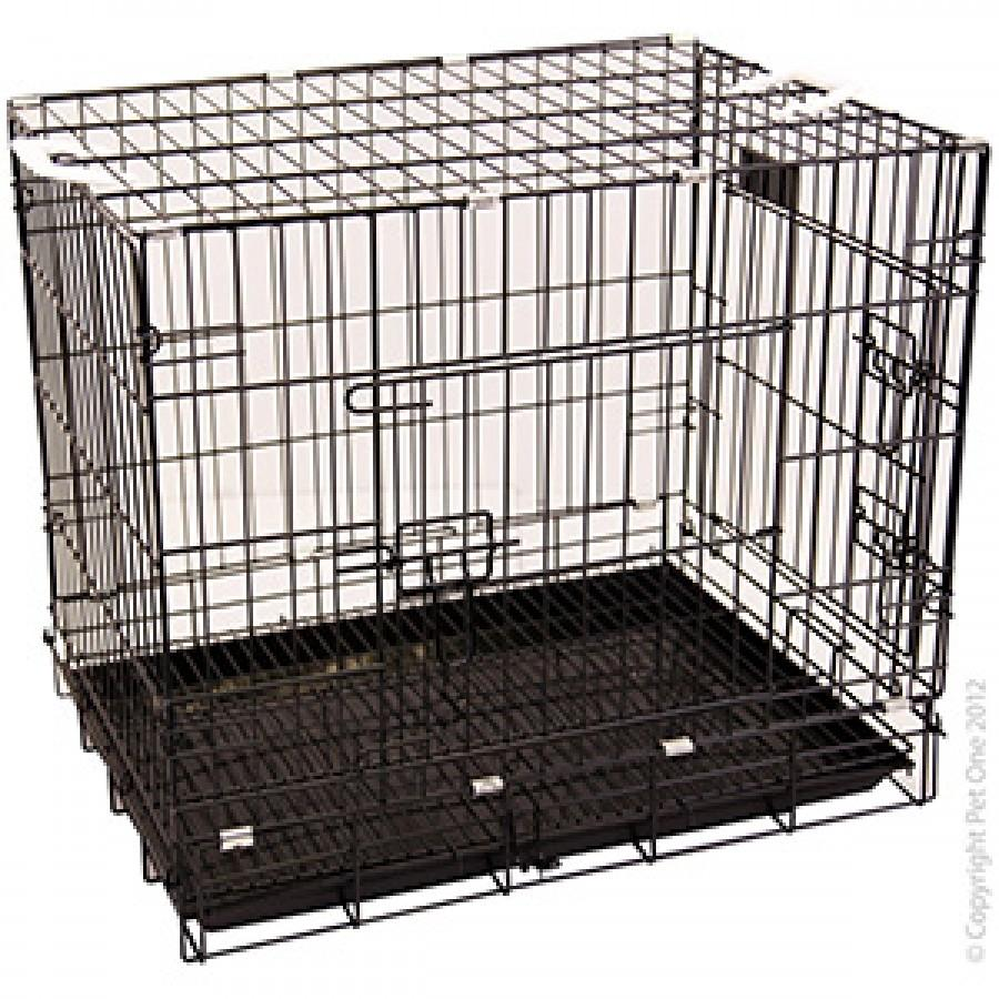 PET ONE D30 COLLAPSIBLE DOG CRATE CAGE (BLACK) L 76 X W 54 X H 64.5CM - City Country Pets and Supplies