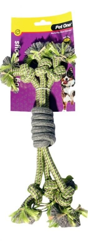 PET ONE DOG TOY 3 ROPE SPIRAL GRIP GREEN/GREY 30CM - City Country Pets and Supplies