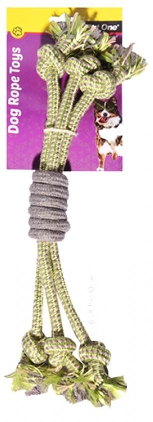 PET ONE DOG TOY 3 ROPE SPIRAL GRIP GREEN/GREY 40CM - City Country Pets and Supplies