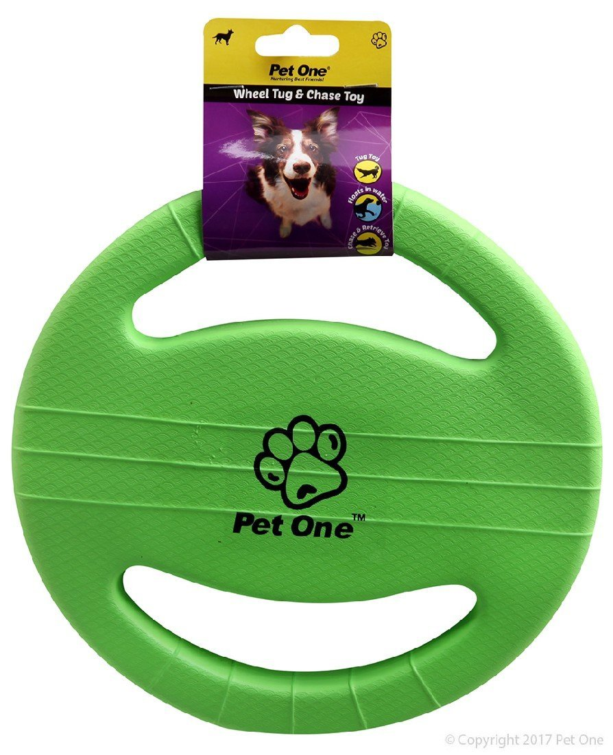PET ONE DOG TOY TUG AND CHASE WHEEL (GREEN) - City Country Pets and Supplies