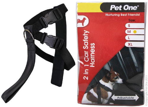PET ONE HARNESS NYLON TWO IN ONE CAR SAFETY 20MM 45-60CM (M) BLACK - City Country Pets and Supplies