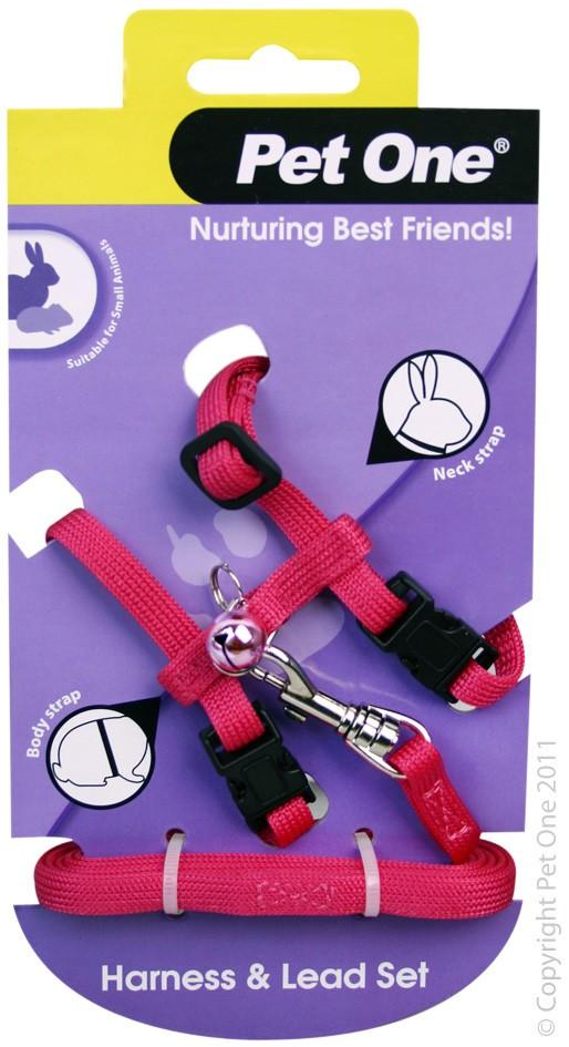 PET ONE LEASH & HARNESS RABBIT, GUINEA PIG, FERRET PINK - City Country Pets and Supplies