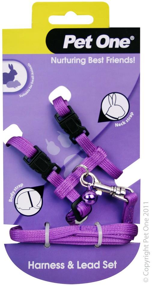 PET ONE LEASH & HARNESS RABBIT, GUINEA PIG, FERRET PURPLE - City Country Pets and Supplies